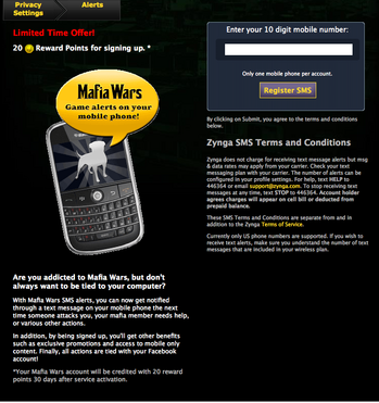 Mafia Wars SMS Alert offer