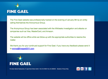 "Fine Gael holding page - ""professional hack"""