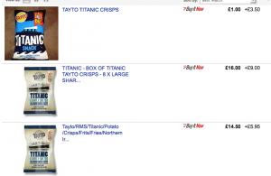 Titanic crisps on ebay