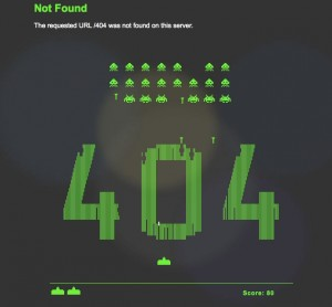 space invaders game on 404 page