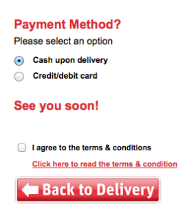 Dominos Ireland only takes cash or credit / debit cards - no Paypal