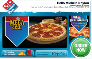 Dominos Ireland advertise Paypal payments on their homepage