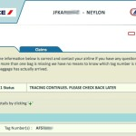 Air France baggage tracking system showing the current status of my bag