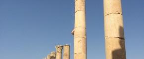 A line of columns inside the Roman city of Jerash in Jordan