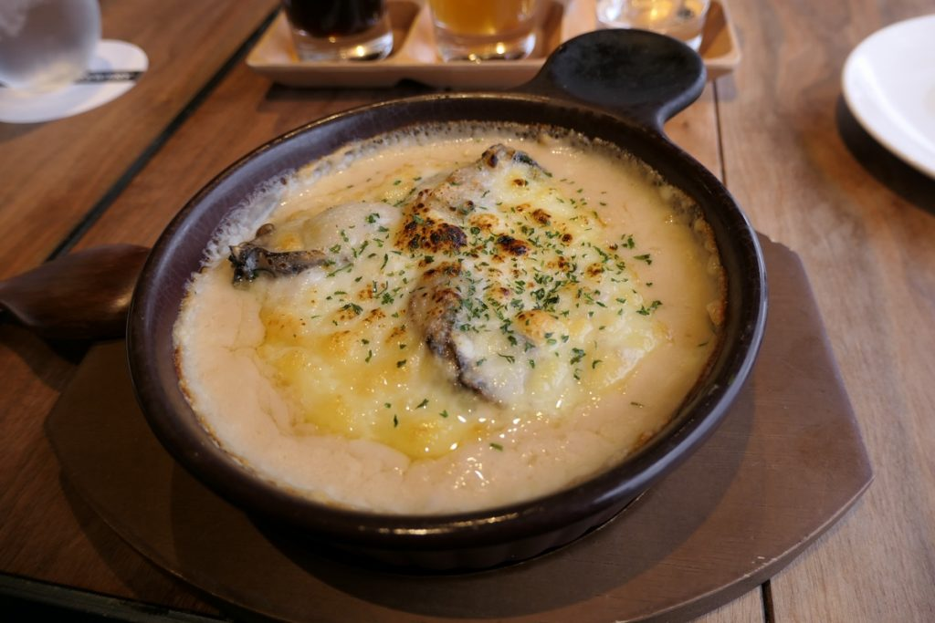 Oyster gratin served at Miyajima Brewery