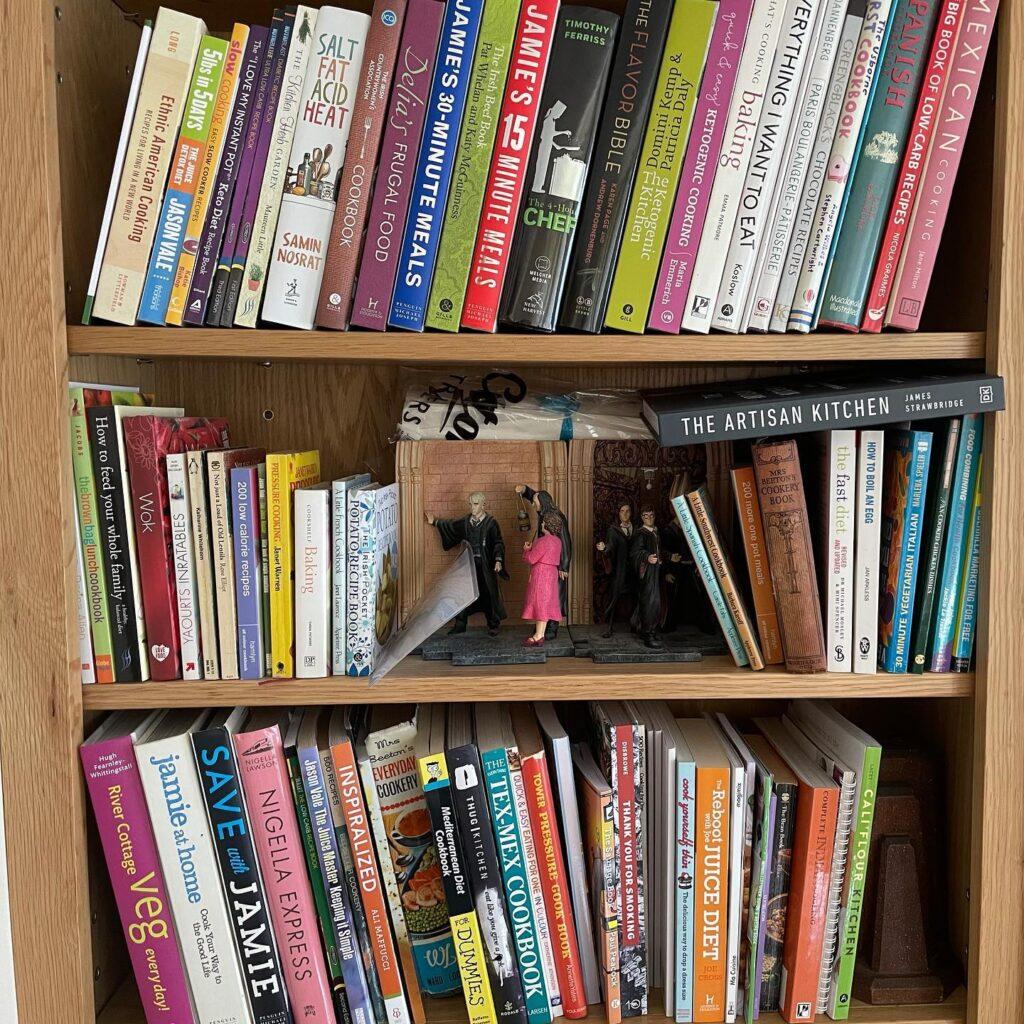 Photo of cookbooks on shelving